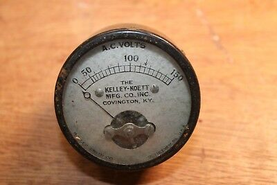 Vintage Kelley-koett Voltmeter Ac Volts Scale 0-150 Steampunk As-is