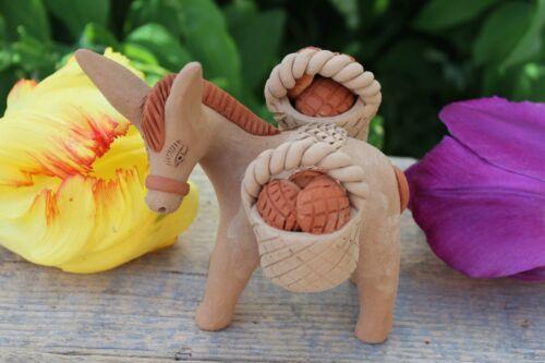 #2 Small Donkey Burro Bread Basket Handmade Clay Atzompa Oaxaca Mexican Folk Art