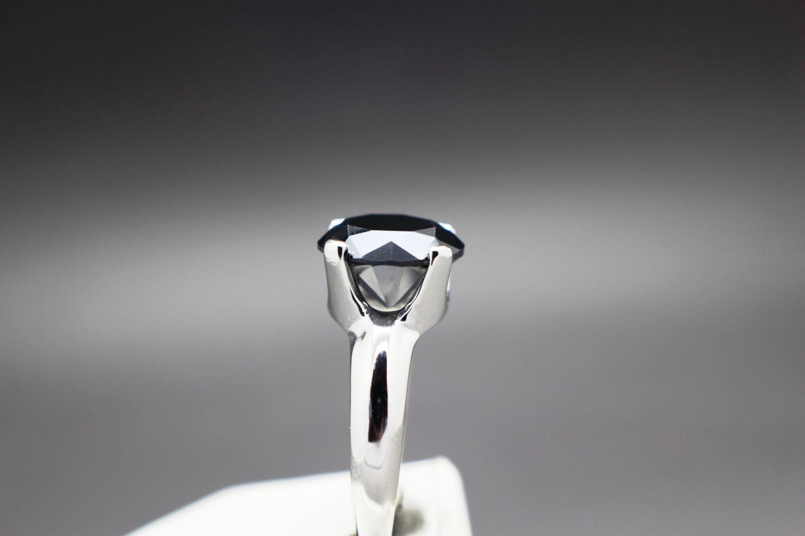 3.18cts 10.06mm Real Natural Black Diamond Ring AAA Grade 1790 Value. - $199.95