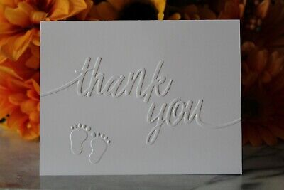 Baby Shower Thank You Cards - Baby Feet Cards - Embossed Set Of 20, 50, 100