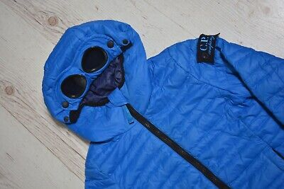Kids CP Company Down Jacket Size 4 Goggle Patch Hood With Lens Blue
