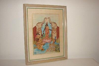 Vintage Fabric Art Indian Goddess Peacock Boho Chic