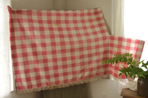 Antique French Vichy check fabric faded pink red panel with white cord fringe