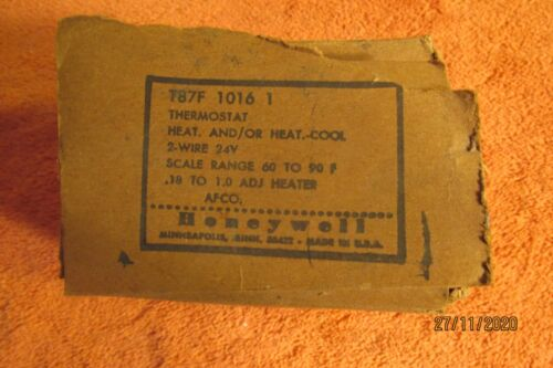 Vintage Honeywell Thermostat T87F  Heating Cooling Round Subbase NOS