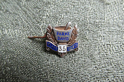 Parke Davis -- Small Silver Lapel Badge -- 35 Years Service -- Medical / Science