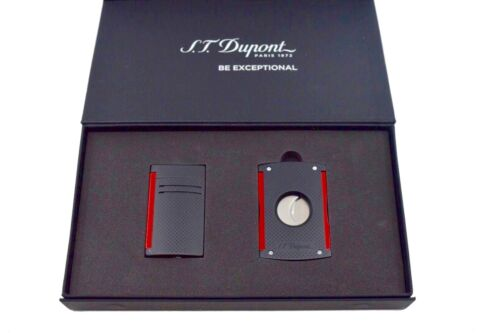 S.T. Dupont MaxiJet Lighter & Cutter Set, Black & Red Punched 112376  New In Box