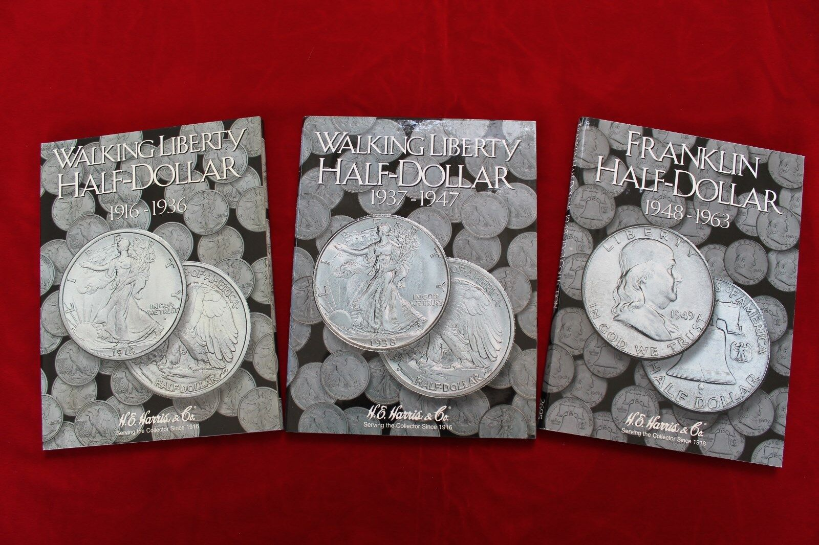 3- H.E.HARRIS COIN FOLDERS, BRAND NEW, WALKING LIBERTY HALF16-47, FRANKLIN HALF