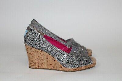 $70 TOMS Womens Sz 7.5 Stella Tweed Classic Wedge Pump Peep Toe Cork Heel Brown Brown Peep Toe Pump