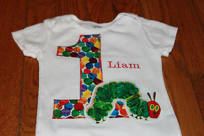 Custom Very Hungry Caterpillar Birthday Bodysuit with Name - first, 1,1st - Very Hungry Caterpillar Party Decorations