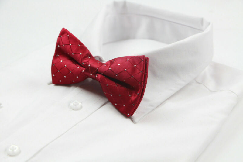 Mens Red With Silver Dots Bow Tie Pre-tied  Bowtie Wedding Formal Ties Tuxedo