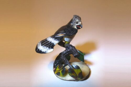 BEAUTIFUL! MADAGASCAR HARRIER HAWK on BRANCH HAND CARVED, PAINTED RESIN MINI 3""