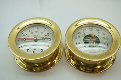 VINTAGE CHELSEA SHIPS CLOCK 2 PC BAROMETER QUARTZ CHRONOMETER BRASS NAUTICAL