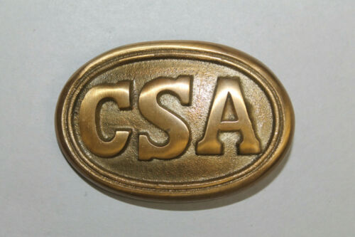 Antique Style Military Civil War Confederate CSA Belt Buckle Oval SOLID Brass #1