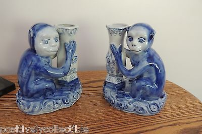Vintag Pair of SPI Accent Chinese Asian Monkey Vases Candle Holders
