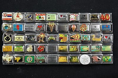 Italian Charms 50 assorted Stainless Steel Wholesale Lot 9mm  (C50-151)