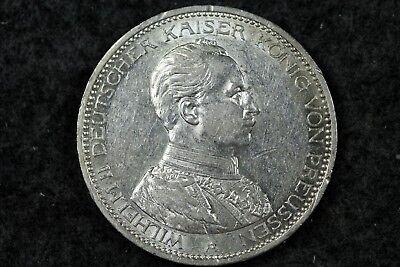 1914 - A German 3 DREI Mark Coin Deutsches Reich Silver aUnc frank!! #H5675