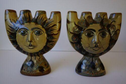 Carlos Villanueva Mexican Folk Art Sun Face Candle Holders Pair Mexico