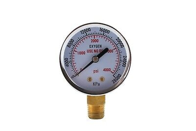 High Pressure Gauge For Oxygen Regulator 0-4000 Psi - 2 Inches