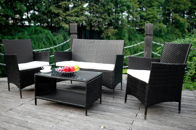 Merax 4 pc patio rattan wicker chair sofa table set for Difference between rattan and wicker furniture