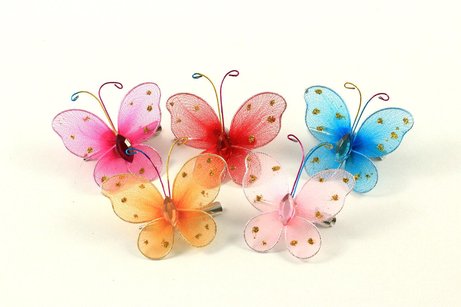 Haarklammer Haarspange Schmetterling Glitzer Kinder Mädchen Haarschmuck K381