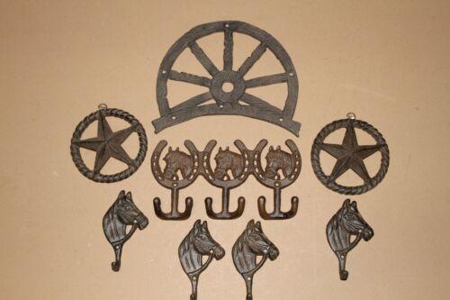 (8) Tulsa Skies Ranch house entryway mudroom coat hooks & wall plaques set