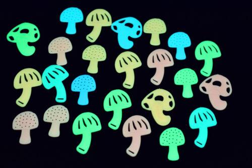 24 Piece Glow in the Dark MultiColor Mushrooms