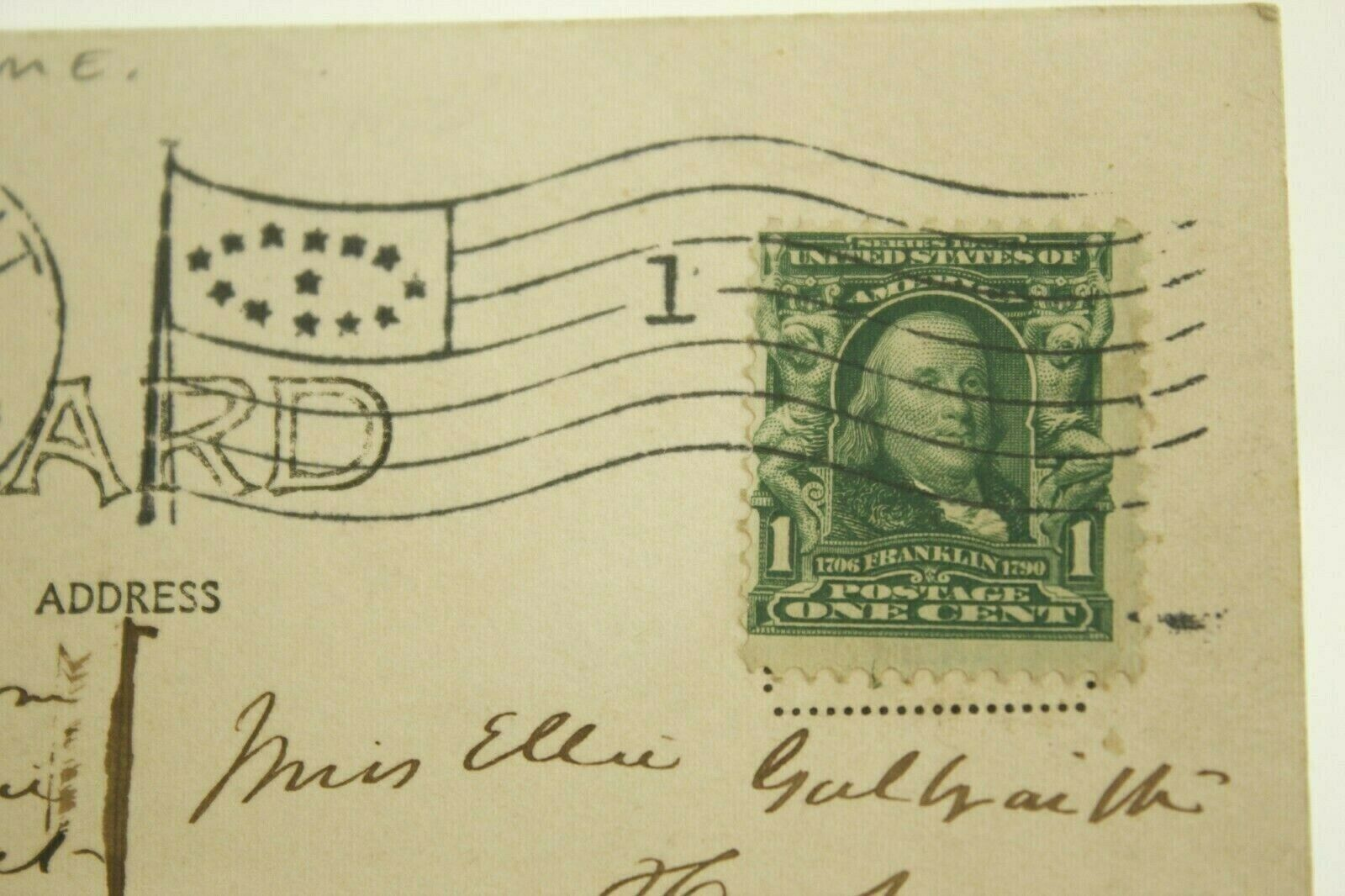 Post Stamps 1 Cent Benjamin Franklin Series 1902 Postcard, STONINGTON ME 1907 - $14.00