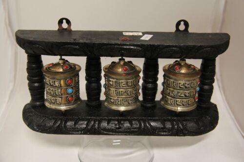 Tibetan Buddhist Handcrafted Spinning Prayer Triple Wheel Wall Hanging Design