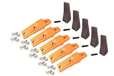 5 - Bobcat Style Skid Steer Bucket Teeth W Bolt On Shanks Pins Hardware