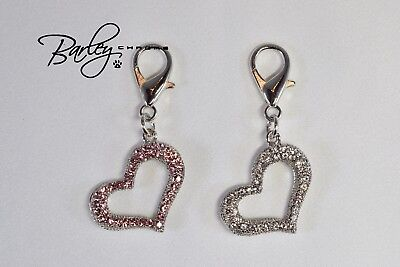 Open Heart Rhinestone Dog Cat Pet Tag Collar Charm - Clear or Pink Heart Dog Pet Collar Charm