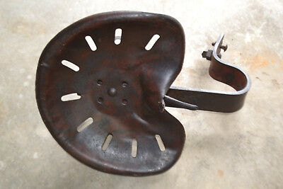Vintage Metal Tractor Seat Heavy Adjustable With Bracket Works