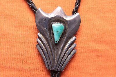 Vintage Hand Made Sterling Silver Turquoise Western Bolo Tie