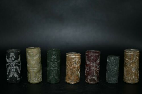 Lot Sell 7 Ancient Sasanian Sumarian & Greek Jasper Cylinder Seal Pendant
