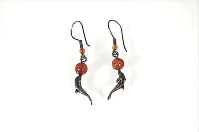 Amber Earrings VTG  Sterling Silver Dolphin Drop Dangle Fish hook