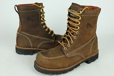 Iron Age Mens Size 8 M Brown Genuine Leather Steel Toe Work Boots Vibram Sole