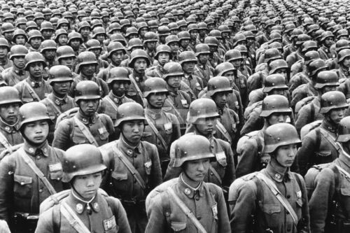 WW2 photo Chinese recruits in full uniforms at a parade somewhere in China #424