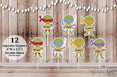 Set of 12 Assorted Ninja Turtles Inspired by TMNT Double Sided Cupcake - Ninja Turtles Cupcake Toppers