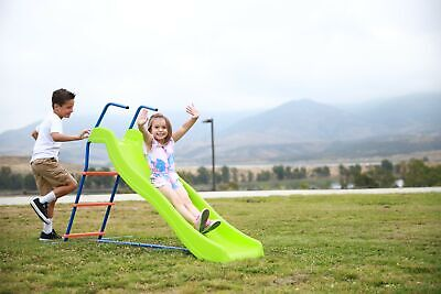 Kids 6ft Outdoor Playground Slide: Freestanding Play Equipment Playset for Child