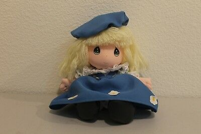 """Precious Moments Plush Girl Toy with Blue Dress and Blue Hat 10"""""""