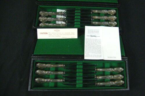 Set of 12 Gorham Melrose Sterling W/ Gerber Carbon Steel Blade Steak Knives RARE