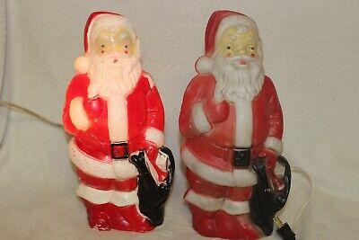 "Pair of Vintage 1968 Santa Claus Light-Up Blow Molds By Empire Plastics 13"""