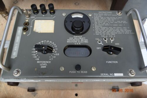 Vintage 22A Western Electric J94022A Milliwatt Reference Meter Test Set  Daven