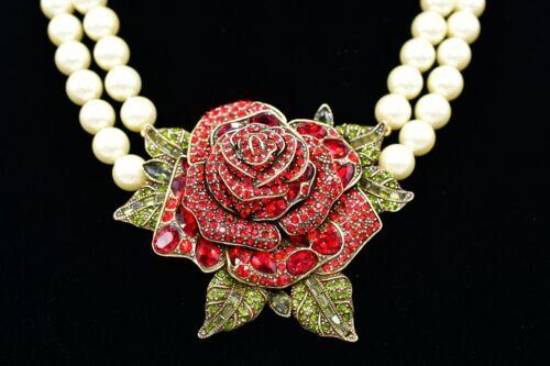 Heidi Daus Beauty Beast Red Rose Statement Necklace Shiny Rhinestone Pearl BinL