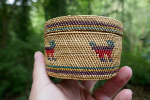 Nootka Tribal Super Fine Woven Vivid Polychrome Basket With Lid - Dog Design