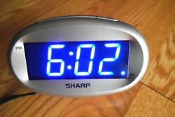 Sharp Model SPC-073 Blue LED Alarm Clock Silver