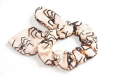 Halloween Party Peach Scrunchie w Black Spiders&Gold Details&Bow on Top (S311)