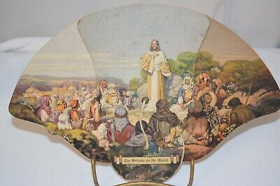 Vintage, The Sermon on the Mount Hand Fan, Advertising Dew Furniture Co. Florida