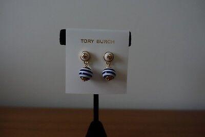 TORY BURCH BLUE/WHITE STRIPE PEARL T LOGO EARRINGS. NEW