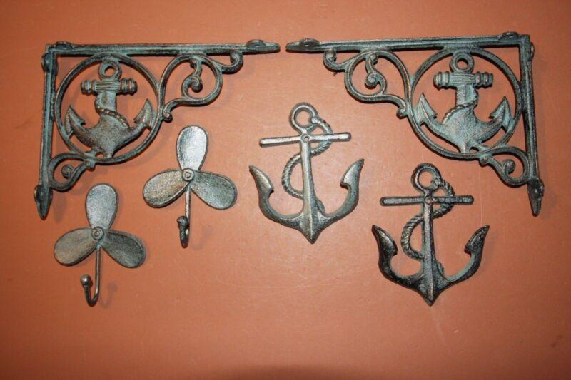 (6) Antique-look Anchor Decor, Anchor Sailor Boating Navy Marine Decor Gift Set