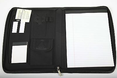 Leeds Milano Padfolio Simulated Leather Zippered Organizer Portfolio Pad Holder